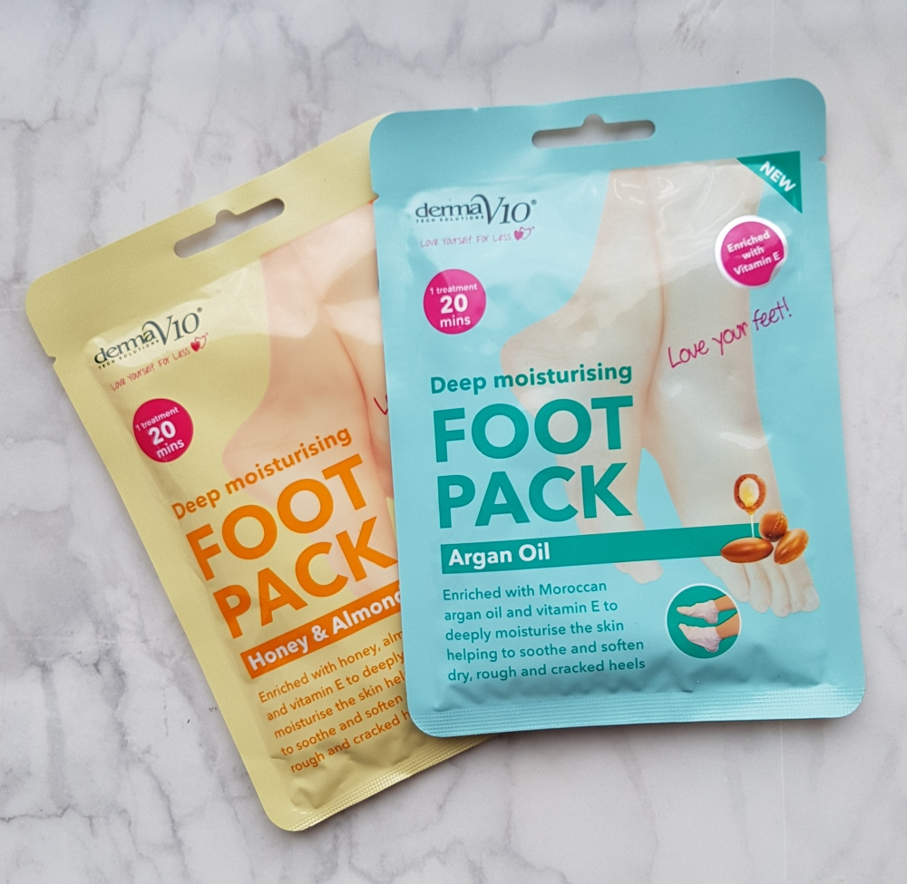 foot masks derma v10  argan oil and honey and almond