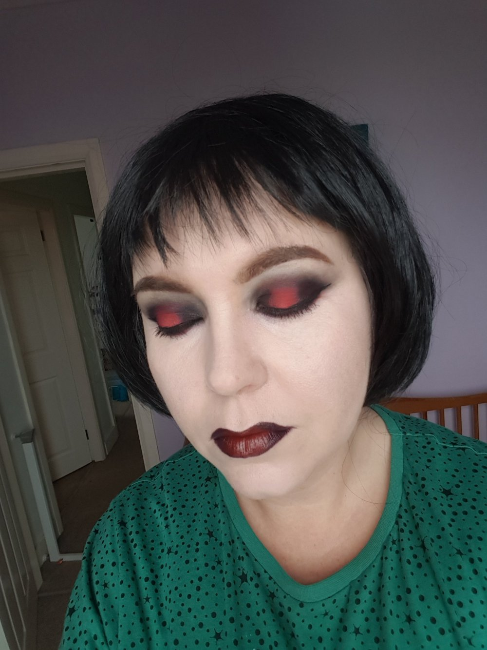Red and black eye makeup